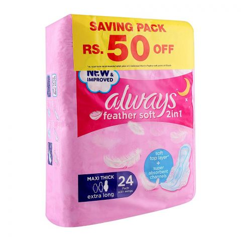 Always Feather Soft 2-In-1 Maxi Thick Pads, Extra Long 24 Pads