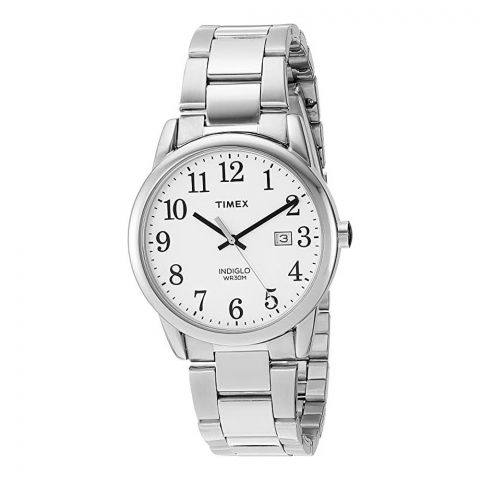 Timex Men's Easy Reader White Dial Stainless Steel Watch, TW2R23300