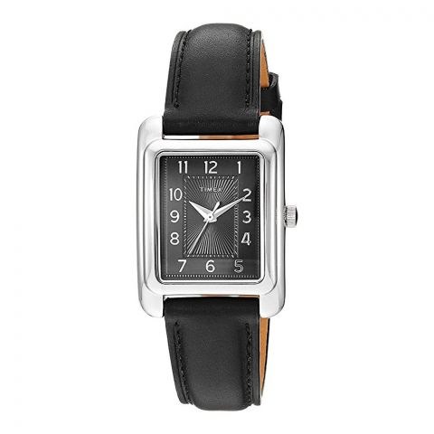 Timex Women's Meriden Black/Silver-Tone Black Leather Strap Watch, TW2R89700