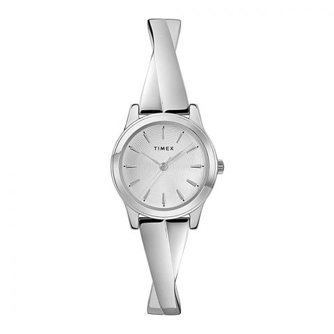 Timex Women's Stretch Bangle Crisscross Stainless Steel 25mm Watch, Silver Tone, TW2R98700