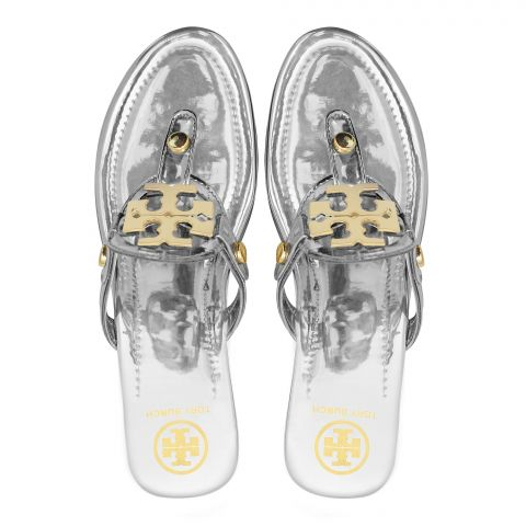 Tory Burch Style Women's Slippers, Silver