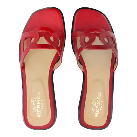 Hermes Style Women's Slippers, Red