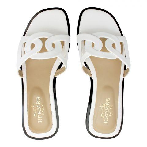 Hermes Style Women's Slippers, White