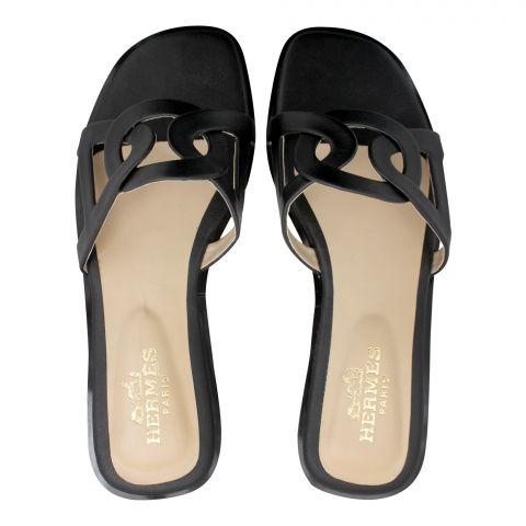 Hermes Style Women's Slippers, Black