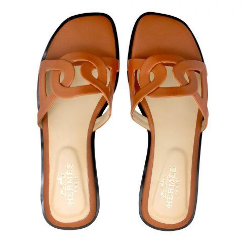 Hermes Style Women's Slippers, Mustard