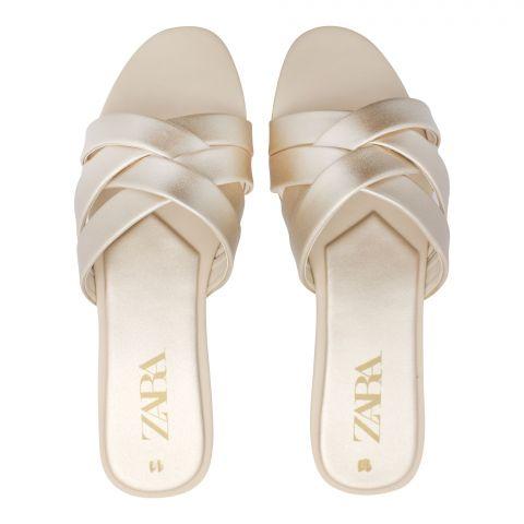 Zara Style Women's Slippers, Golden