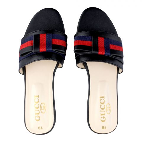 Gucci Style Women's Slippers, Black
