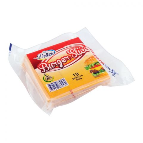 Delizia Burger Slice Cheese, 10-Pack, 200g