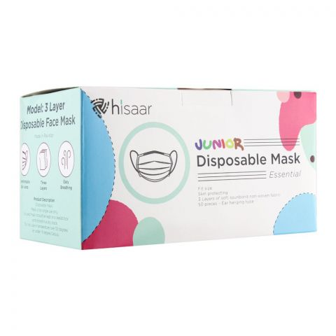 Hisaar Junior Disposable Face Mask 3-Ply, 50-Pack