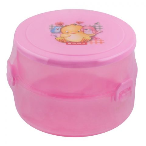 Lion Star Round Pop Lunch Box, Pink, 4x3 Inches, SB-14