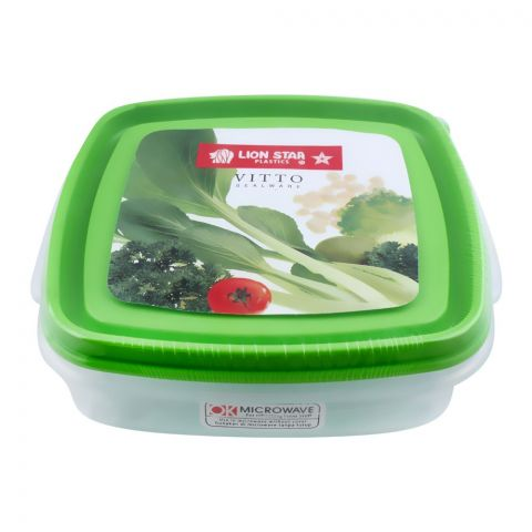 Lion Star Vitto Seal Ware Food Container, 7x6x2 Inches, Green, 750ml, VT-1