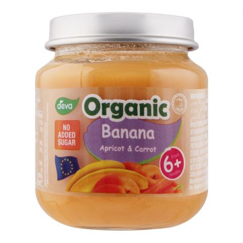Deva Organic Baby Food, Banana Apricot & Carrot, 6m+, No Added Sugar, 120g