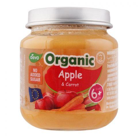 Deva Organic Baby Food, Apple & Carrot, 6m+, No Added Sugar, 120g