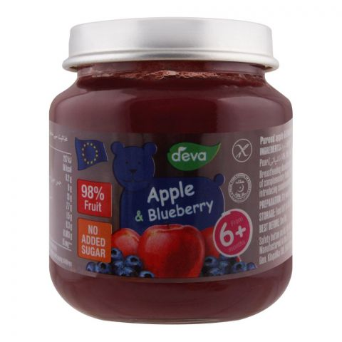 Deva Baby Food, Apple & Blueberry, 6m+, No Added Sugar, 125g