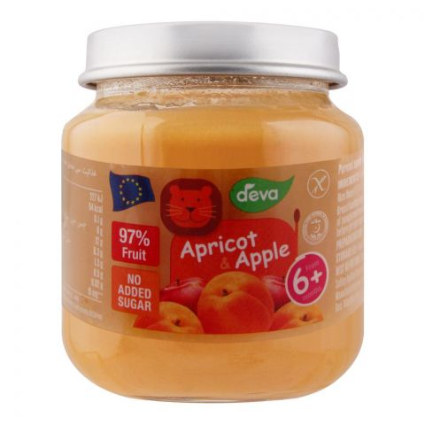 Deva Baby Food, Apricot & Apple, 6m+, No Added Sugar, 125g