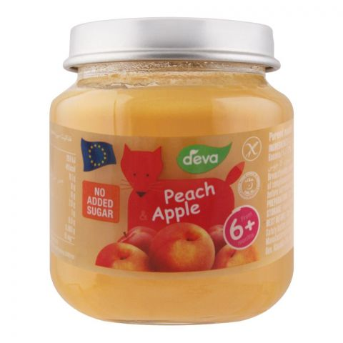 Deva Baby Food, Peach & Apple, 6m+, No Added Sugar, 125g
