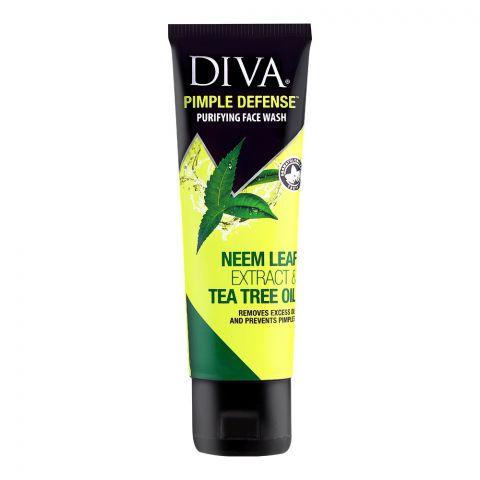 Diva Pimple Defense Purifying Face Wash, Neem Leaf Extract & Tea Tre Oil, 75ml