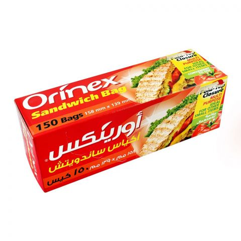 Orinex Multi-Purpose Sandwich Bags, 6.2x5.4 Inches, Fold-Top Closure, 150-Pack, Food Grade