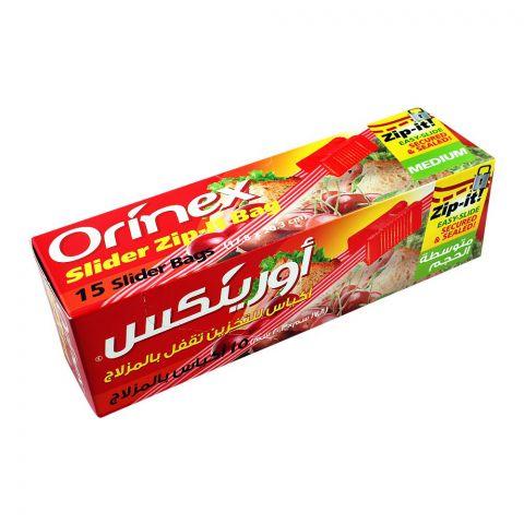 Orinex Slider Zip-Lock Bag, 7x8 Inches, Medium, 15-Pack, Food Grade