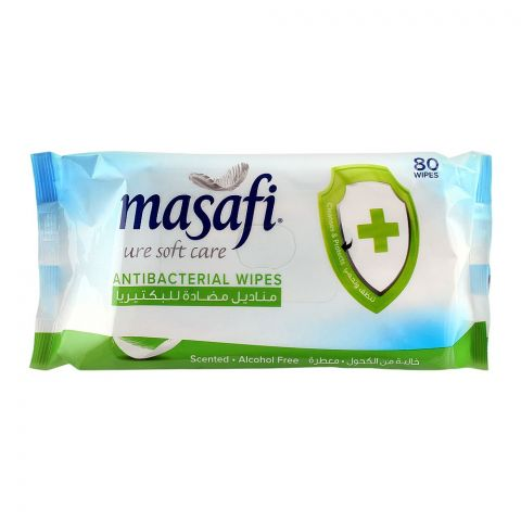 Masafi Anti-Bacterial Wipes, Scented, Alcohol Free, 80-Pack