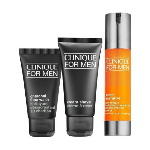 Clinique For Men Super Energizer + Charcoal Face Wash + Cream Shave Set