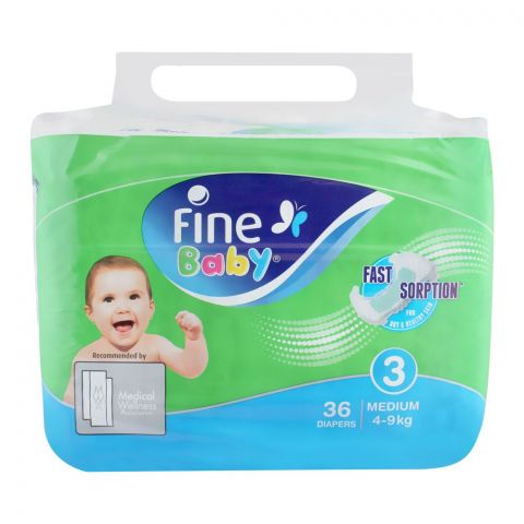 Fine Baby Diapers, No. 3, Medium 4-9 KG, 36-Pack