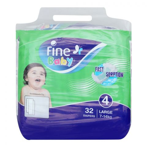 Fine Baby Diapers, No. 4, Large 7-14 KG, 32-Pack