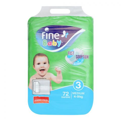 Fine Baby Diapers, No. 3, Medium 4-9 KG, Jumbo Pack, 72-Pack