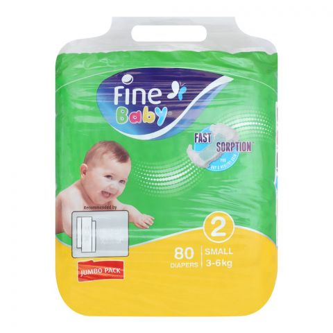 Fine Baby Diapers, No. 2, Small 3-6 KG, Jumbo Pack, 80-Pack