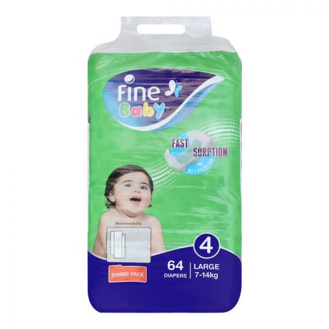 Fine Baby Diapers, No. 4, Large 7-14 KG, Jumbo Pack, 64-Pack