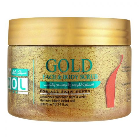 Silky Cool Extra Gold Face & Body Scrub, All Skin Types, 300ml