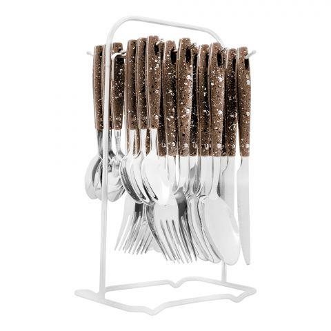 Elegant Stainless Steel Cutlery Set, 24 Pieces, Brown Dots, EL-2011