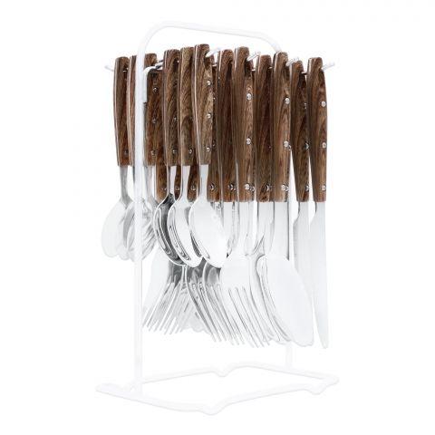 Elegant Stainless Steel Cutlery Set, 24 Pieces, Dark Wood Dots, EL-2015
