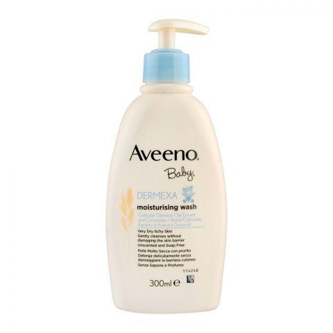 Aveeno Baby Dermexa Moisturising Wash, Unscented & Soap Free, 300ml
