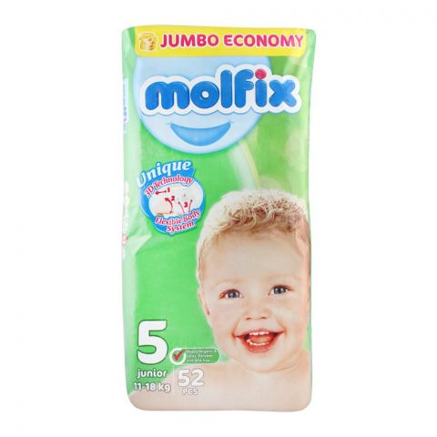 Molfix No. 5 Diapers, Junior 11-18 KG, Jumbo Economy, 52-Pack