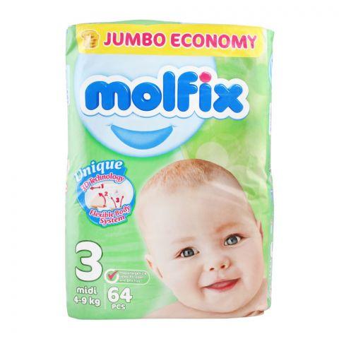 Molfix No. 3 Diapers, Midi 4-9 KG, Jumbo Economy, 64-Pack