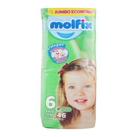 Molfix No. 6 Diapers, Extra Large 16+ KG, Jumbo Economy, 64-Pack