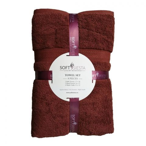 Soft Siesta Bath + Hand + Wash Towels, Pack Of 8, Brown