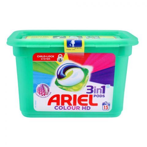 Ariel 3-In-1 Liquid Pods, Colour HD, 15x27, Washing Capsules, 405g