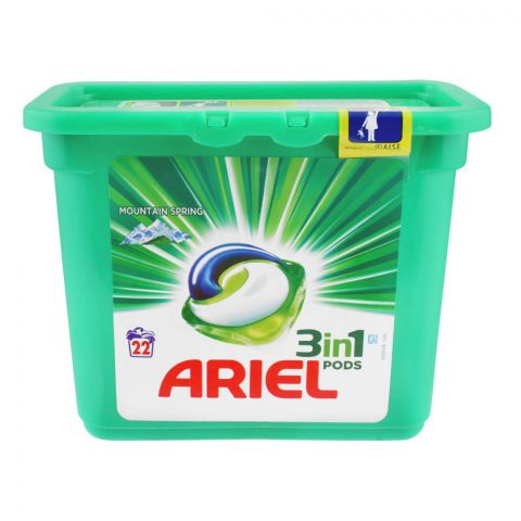 Ariel 3-In-1 Liquid Pods, Mountain Spring, 22x27, Washing Capsules, 594g
