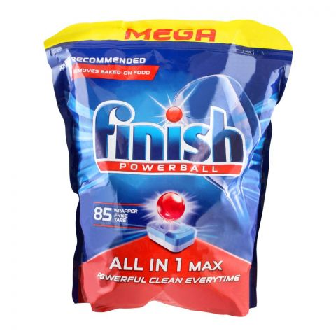 Finish Power Ball All-In-1 Max Wrapper Free Dishwasher Tablets, 85-Pack