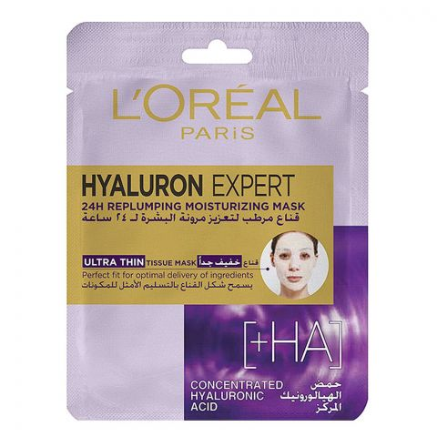 L'Oreal Paris Hyaluron Expert 24H Replumping Moisturizing Ultra Thin Tissue Mask, 30g
