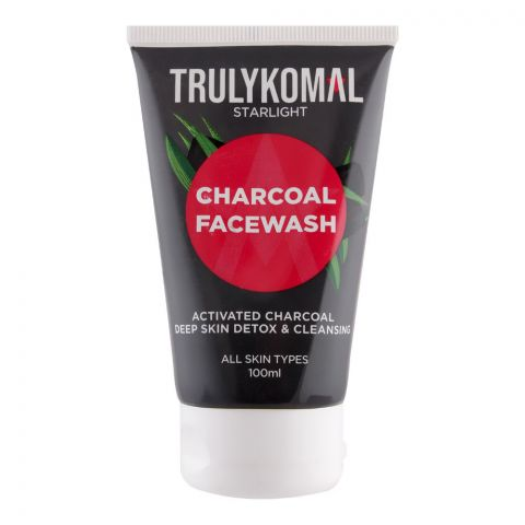 Truly Komal Charcoal Face Wash, All Skin Types, 100ml