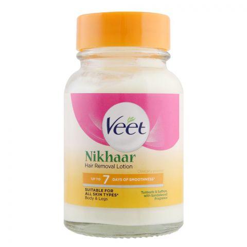 Veet Nikhaar Body & Legs Hair Removal Lotion, All Skin Types, Turmeric, Saffron & Sandalwood, 80g