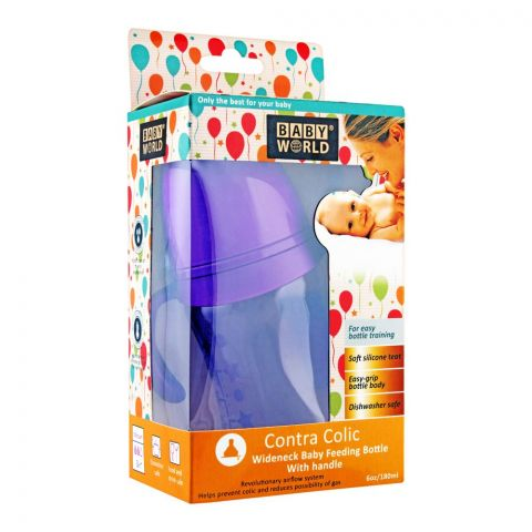 Baby World Contra Colic Wide Neck Feeding Bottle With Handle, 180ml, BW2043