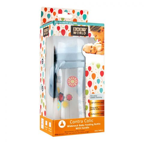 Baby World Contra Colic Wide Neck Feeding Bottle With Handle, 300ml, BW2037