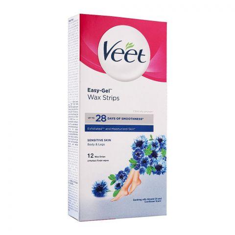 Veet Easy-Gelwax Sensitive Skin Wax Body & Legs Strips, Almond Oil And Cornflower, 12-Pack