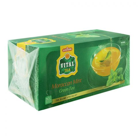 Vital Enveloped Moroccan Mint Green Tea Bags, 30-Pack