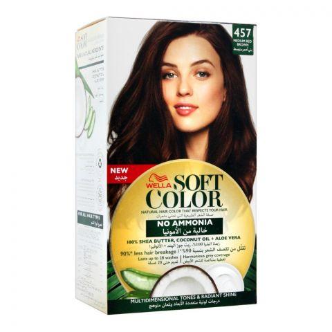 Wella Soft Color No Ammonia Hair Color, 457 Medium Red Brown