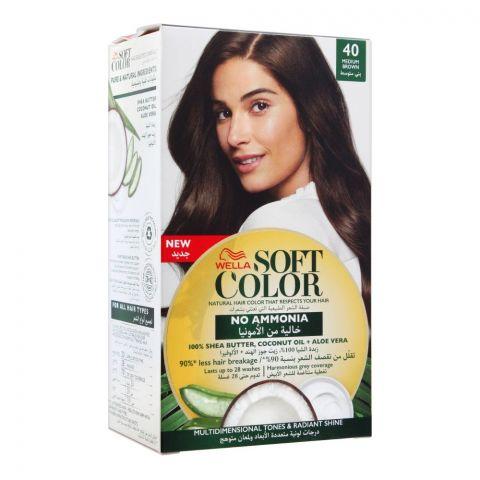 Wella Soft Color No Ammonia Hair Color, 40 Medium Brown